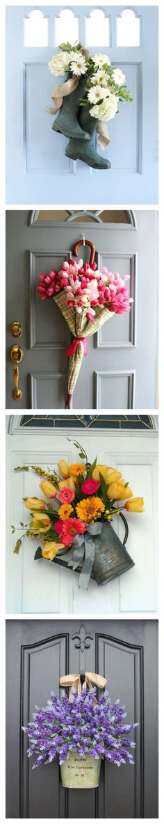 Go Beyond Wreaths with Unusual Door Decorations for Spring #DIY