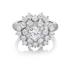 Monte Carlo Ice Ring   Platinum on Silver Cluster Ring with White Stones $230