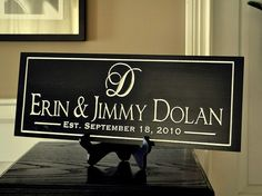 Personalized Family Name Sign Plaque Custom Made Just for you. Carved Engraved Makes a great wedding or anniversary gift Established Sign, Family Name Signs, Wedding Gifts, Wedding Ideas, Plum Wedding, Peacock Wedding, Wedding Wishes, Wedding Stuff, Anniversary Gifts
