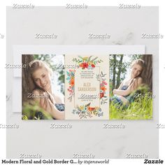 Shop Modern Floral and Gold Border Graduation Announcement created by itsjensworld. Graduation Announcement Cards, Crumpled Paper, Custom Thank You Cards, Fathers Day Cards, Artwork Design, Personal Photo, Zazzle Invitations, Colorful Flowers, Your Cards