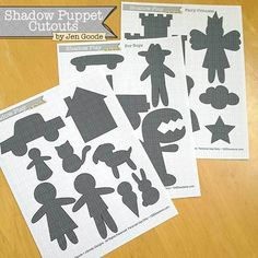 Shadow Puppet Printable Play Sets - 100 Directions - - Print and cut out these fun shadow puppets. No matter if your looking for pretend play themes for boys or girls, there is tons of shapes to play with! There are 3 different themed shadow puppet pri…