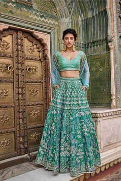 Indian designer rama green lehenga choli for wedding outfits. For order whatsapp us on wedding outfits wedding dress wedding dresses lengha lehnga sabyasachi manish malhotra Bridal Lehenga Choli, Indian Lehenga, Wedding Lehnga, Lehnga Dress, Punjabi Wedding, Indian Wedding Outfits, Indian Outfits, Indian Clothes, Blue Outfits