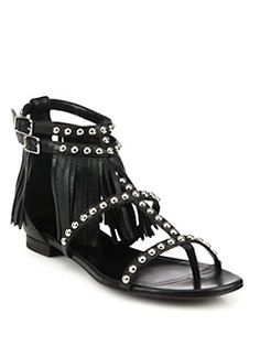 Saint Laurent - Studded Leather Fringe-Trimmed Sandals
