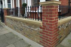 london stock garden wall with fleur de lis iron rail Front Gate Design, Fence Design, Wall Design, Edwardian House, Victorian Terrace, House Pillars, Builders London, Patio Builders, Front Path