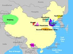 Wine Regions of China:  There are eight main growing regions in China - Ancient Yellow River Area, BohaiBay Area, Helan Mountains Region, North East Region, Shacheng District, Wuwei Region, Xinjiang Region, and Yunnan Region