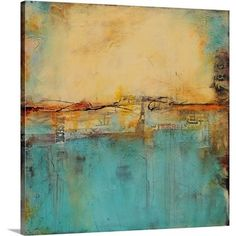 This abstract painting on printed silver canvas from Yosemite Home Decor is embellished with coloured gel. Tan, teal, brown, cream and burnt orange are arranged in a creative way. Hints of stencils and shapes show through the textured painting. This cool abstract painting would look great in any room of the home.