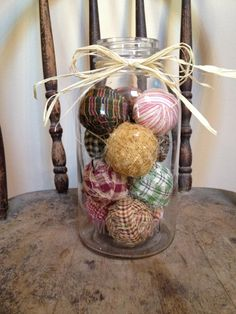 Primitive Decor - rag balls in large half gallon vintage mason jar. $19.99, via Etsy.