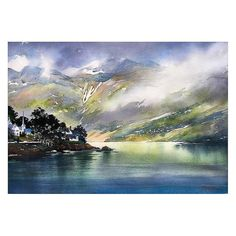 Norwegian Landscape by Thomas W. Schaller Watercolor ~ 18 inches x 24 inches Learn Watercolor Painting, Watercolor Ocean, Watercolor Landscape, Watercolor And Ink, Landscape Art, Landscape Paintings, Landscapes, Norway Landscape, Fjord