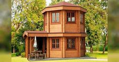 This Pavilion style tiny house is called The Toulouse. It's designed to serve as a luxury garden building. One might also use it as a backyard pool house or guest quarters. Tiny House Cabin, Tiny House Living, Tiny House Plans, Tiny House Design, Yurt Living, Cabin Design, Log Homes, Tiny Homes, Casa Octagonal