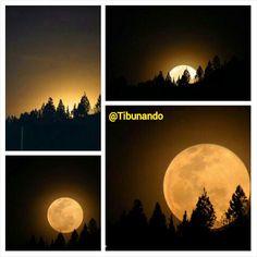 Collage de la salida de la Luna Llena por el Sureste Caraqueño, Venezuela / Vía @Isidro Pestana