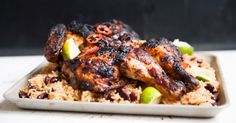 This recipe gives you three excellent guides. The first- how to spatchcock a chicken. The second- how to turn that chicken into the most delicious, succulent jerk flavoured dinner. And third- how to serve it with rice and peas! After a quick prep all you need to do is bang it in the oven for 30-40 minutes. So easy peasy lemon squeezy. A great mid week recipe.