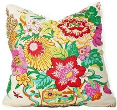 Peacocks and Petals Pillow, White - eclectic - pillows - Society Social