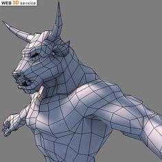 Low poly minotaur 3D model - WIP - 3D Art Work In Progress