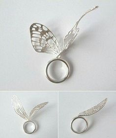 Sculptural butterfly ring with wings; contemporary jewellery design // Ikumi Shirayama pretty grimm and fairy elfish folk jewellery Jewelry Stores Near Me, Jewelry Shop, Jewelry Art, Jewelry Rings, Silver Jewelry, Jewelry Accessories, Jewelry Design, Jewelry Making, Gold Jewellery