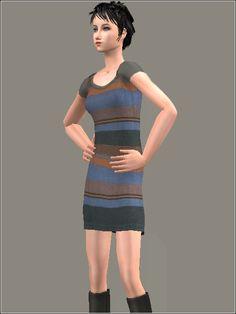 Mod The Sims - No Stars, Just Stripes: Shirt Dress