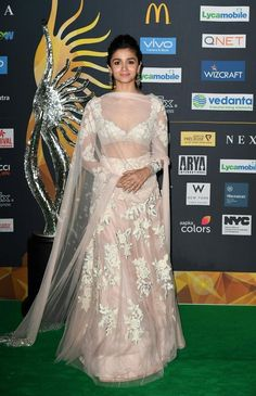 Bollywood Actress Alia Bhatt arrives for IIFA Rocks July 2017 at the MetLife Stadium in East Rutherford, New Jersey during the International Indian Film Academy Festival. / Get premium, high resolution news photos at Getty Images Alia Bhatt Lehenga, Lehenga Choli, Sari, Indian Lehenga, Lehenga Designs, Indian Wedding Outfits, Indian Outfits, Indian Clothes, Indian Attire