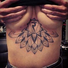 Underboob mandala with solar plexus chakra.  #tattoo#tattoos#underboob