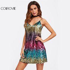 Colorful Sequin Party Club Dress Women A Line Mini Summer Dresses  Sleeveless V Neck Hot Dress ac9fce21d711