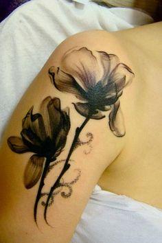"""? tatuaż - Nasze tatuaże"" ••• Pretty/delicate black & gray flowers"