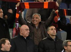 James Pallotta celebrating the 4-2 victory vs Milan. Mr Galliani's face is priceless! #forzaroma