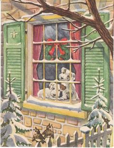 1940s Christmas card terrier dogs looking out window