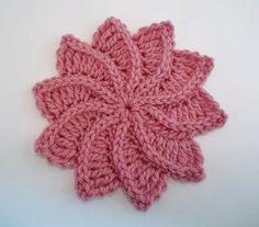 Flor de Crochê Espiral com gráfico