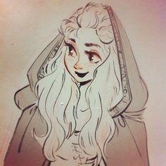 Tonight's ink sketch: lady in a cloak!