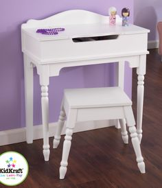 White Sweetheart Vanity and Stool ... perfect for any little girls room      Shell have fun playing dress up with this      Has a shatterproof heart shaped mirror made of acrylic plastic and storage space for all those little girl things      Great memory maker      Made of composite wood materials and has sturdy construction.      Comes with step-by-step assembly instructions.      Dimensions:      Vanity Table -  22.64L x 10.95W x 3