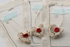 Crocheted Hemp Yarn Heart Invitations - by Jenny Doh