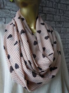 Salmon And Brown Heart Print Infinity Scarf /  by bosphorusscarf