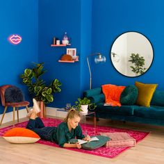 Upgrade any small space in your home with this step-by-step tutorial, using bold shades of paint, easy wall storage, fun chic furniture, neon lights + a colorful shade of pillows and rugs. Funky Living Rooms, Yellow Dining Room, Monochromatic Room, Small Room Design, Easy Wall, Wall Storage, Storage Ideas, Recycled Furniture, Home Decor Items