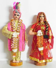 Rajput Bride and Bridegroom (Cloth) Baby Doll Clothes, Doll Clothes Patterns, Clothing Patterns, Indian Wedding Couple, Wedding Couples, Tulle Prom Dress, Bridal Dresses, Wedding Doll, Indian Costumes