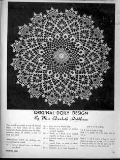 Elizabeth Hiddleson Crochet Doily Patterns