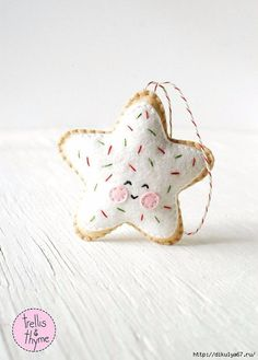 PDF Pattern - Sugar Cookie Star, Kawaii Christmas Ornament Pattern, Felt Softie Sewing Pattern, Felt Ornament Pattern super cute decorations to make and give to friends Ornament Pattern, Felt Ornaments Patterns, Felt Patterns, Sewing Patterns, Softies, Plushies, Felt Decorations, Christmas Decorations, Felt Crafts
