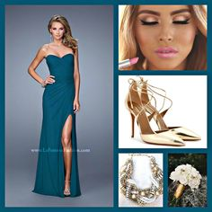 La Femme 21193 long prom dress - forest green prom dress - homecoming dress - bridesmaids dress - formal dress - pageant dress - net jersey dress - strapless - sweetheart neckline - ruched bodice - crisscross bodice - left leg slit - style inspiration - wedding inspiration - makeup inspiration - gold accessories - bold lip - bouquet - gold heels