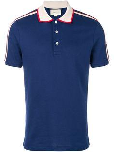 Gucci Striped Trim Polo Shirt In Blue Pique Polo Shirt, Polo T Shirts, Collar Shirts, Lacoste Clothing, Gucci Clothing, My T Shirt, Shirt Men, Mens Tees, Gucci Gucci