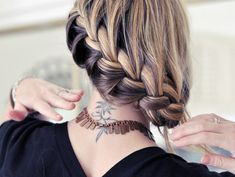 Back View of Quirky Two-Tone Diagonal Braid