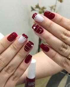 43 Unique Spring And Summer Nails Color Ideas That You Must Try 21 Cute Nail Art Designs, Beautiful Nail Designs, Red Nails, Hair And Nails, Valentine Nail Art, Pretty Nail Art, Manicure E Pedicure, Flower Nail Art, Stylish Nails