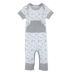 Feather Baby Boys Organic Pima Cotton Short Sleeve Kangaroo Romper * Continue to the product at the image link.