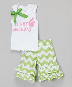 Look at this #zulilyfind! Beary Basics Green 'My Birthday' Tank & Shorts - Infant, Toddler & Girls by Beary Basics #zulilyfinds