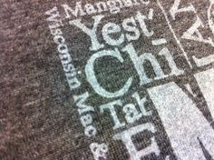 Close up shot of a one hit, thinned white print.  This gives the image a great tonal look, especially on a heather shirt.  www.visualimp.com