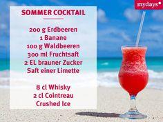 Leckeres Rezept für einen Erdbeer-Cocktail. Noch mehr Sommer-Cocktails findest du hier: http://www.mydays.de/magazin/lifestyle/einfache-cocktails/