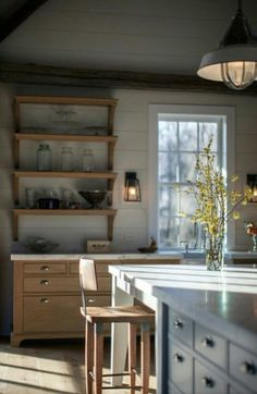 Vintage barn frame addition to Dutch stone house - traditional - kitchen - boston - KATE JOHNS AIA Best Kitchen Design, New Kitchen, Kitchen Dining, Kitchen Decor, Kitchen Shelves, Wood Shelves, Rustic Kitchen, Kitchen Designs, Country Kitchen