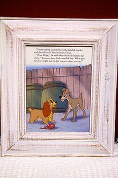 FRENCH PROVINCIAL SHABBY CHIC PICTURE FRAME, CUTE LADY & TRAMP STORY BOOK PAGE