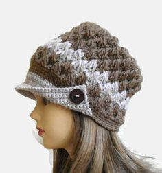 Women's Peaked Cap Crochet Hat Girls beret unique by likeknitting Handmade Gifts For Her, Unique Gifts, Winter Accessories, Fashion Accessories, Peaked Cap, Girl With Hat, Beret, Valentine Day Gifts, Knits