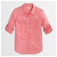$27.98 J.Crew Perfect Camp Shirt in Pink Cotton Voile Button-Tab Sleeves, Sz S Pristine #jcrew