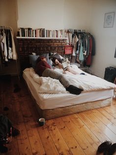 Haha this is what my bedroom looks like! Mostly books & bed. Dream Bedroom, Home Bedroom, Bedroom Decor, Closet Bedroom, Closet Space, Modern Bedroom, Bedroom Furniture, Home Living, Apartment Living