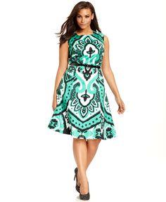 INC International Concepts Plus Size Dress, Cap-Sleeve Printed A-Line - INC International Concepts - Plus Sizes - Macy's