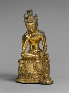 Pensive bodhisattva    Period: Three Kingdoms period (57 B.C.–A.D. 676)  Date: mid-7th century  Culture: Korea  Medium: Gilt bronze  Dimensions: H. 8 7/8 in. (22.5 cm); W. 4 in. (10.2 cm); D. 4 1/4 in. (10.8 cm)  Classification: Sculpture