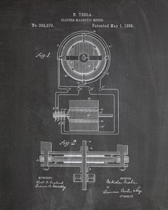 You will love this unique archive print of an 1881 Nikola Tesla Motor patent, presented as a vintage industrial or steampunk style drawing. It is part of our curated collection of the most unique, nov